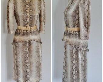 SALE Petite Vintage Snakeskin Dress with Peplum & Belt - Animal Print Dress - Button Front - High Neck - Shoulder Pads by Nu Mode