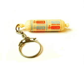 Vintage Miniature Cheese Stick Eyssen Key Chain.