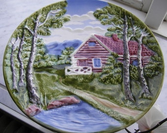 Hand Painted Vintage Schramberg Majolica Plate. Germany 1970s.