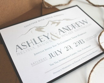Personalized Rustic Mountain Wedding Invitation / Outdoor Wedding / Natural, Rustic, Vintage