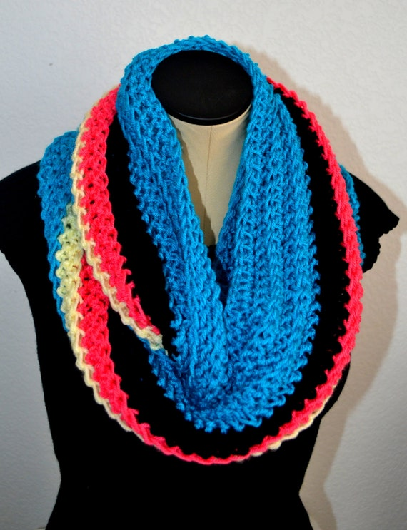 Crochet Infinity Multi-colored Scarf.