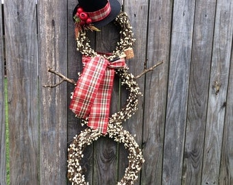 NEW Snowman Wreath, XL Christmas Wreath, Winter Door Decor, Holiday Wreath, Christmas Decor
