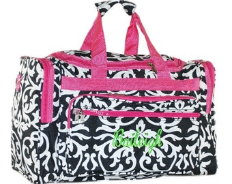 Damask Hot Pink Trim Duffel With  Free Embroidery 19""