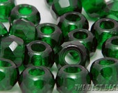 10pcs Emerald Green Faceted Tyre Rondelle Fire Polished Big Hole Czech Glass Beads 12x8mm