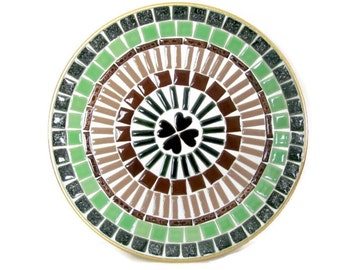 1960's Mosaic Plate, Vintage Mosaic Tile Tray, Mid Century Mosaic Tray, Decor, Brown, Green