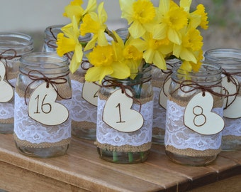 burlap table numbers, shabby chic table numbers, vintage wedding decor, garden wedding table