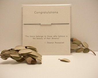 Congratulations - Sterling Silver Friendship Bracelet on Silk - Black