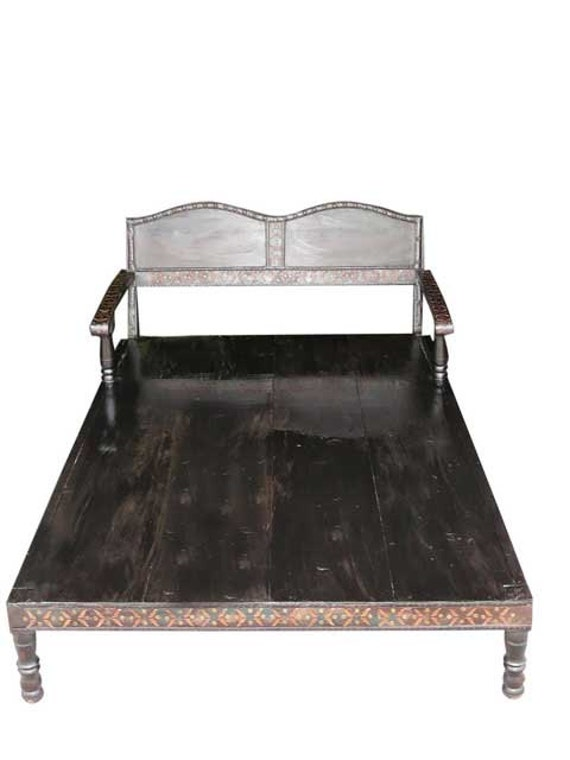 Old cart daybed hand crafted iron accent indian by for Old diwan bed