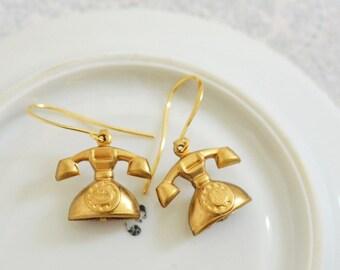 "Phone Earrings, Gold Retro Rotary Telephone Charm Earrings ""Hello Operator"", Shabby Chic Jewelry, Vintage Jewelry, Romantic Jewelry"