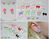 Rose Clip-On Earrings, Girls earrings, Every day earrings, Kid Earrings, Play earrings, resin rose earrings, clip ons