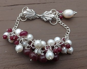 Genuine Ruby Gemstone, Freshwater Pearls and Sterling Silver Bracelet