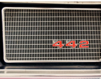Car Parts Photography, Oldsmobile 442 Grille, Metallic Photographic Print