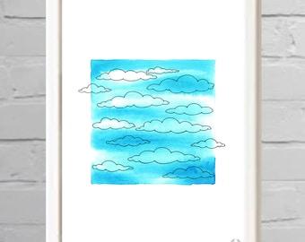 Clouds Watercolor Illustration Print