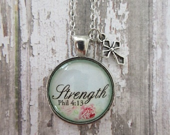 Strength Phil 4:13 Vintage Rose Blue Background Glass Pendant Necklace With Silver Cross Charm