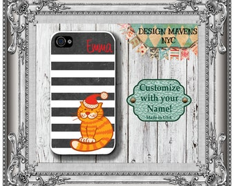 Cute Kitty Monogram iPhone Case, Holiday Cat iPhone, Personalized iPhone Case,Chalkboard Stripe, iPhone 4, 4s, iPhone 5, 5s, 5c, iPhone 6