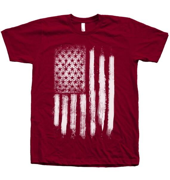 Us flag t shirt custom hand screen printed on american apparel for American apparel custom t shirt printing
