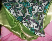 Funky Paisley Peridot Elephant Satin Cotton Reversible 2-sided Baby Blanket