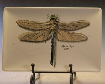 Hand Painted Dragonfly Platter Rectangular