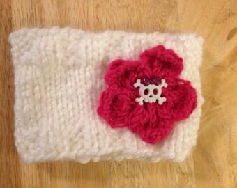 Knitted Flower Headband / Ear warmer (White/Skull)