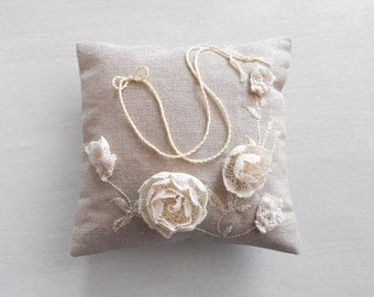 Bridal Linen Ring Bearer Pillow with Ivory Lace Handmade Flower Motive / Rustic Wedding Accessory