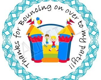 """Instant Download -- Printable Bouncy House party 3"""" favour tags/cutouts - You Print DIGITAL FILE"""