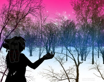 Anthro Fox Forest Art Print 5x7 and 8.5x11 #539 DJ Fox Silhouette in Wintery Forest Virgin Trees