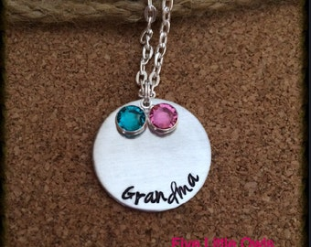 Hand stamped grandma with birthstones
