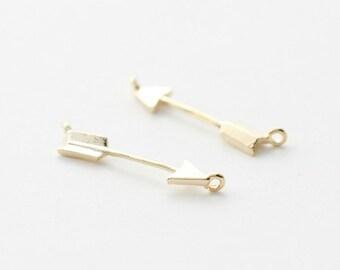 3243014 / Arrow / 16k Matt Gold Plated Brass Connector 21.5mm x 4.5mm / 0.2g / 2pcs