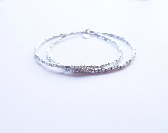 Karen Hill Tribe Silver Beaded Delicate Double Wrap Stacking Bracelet