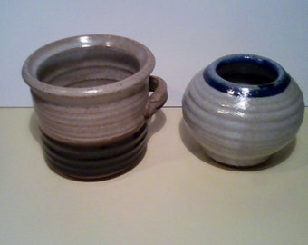2 Stoneware Pottery with initials bp