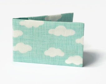 Pastel Oyster Card Wallet, Travel Card Holder. Fabric Credit Card Case for up to 12 cards - Aqua Clouds.