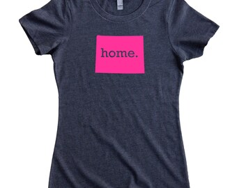 Wyoming Home State T-Shirt Women's Tee PINK EDITION - Sizes S-XXL