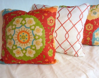 Decorative Linen Pillow Cover - Richloom Cornwall Designer Fabric -18x18 or 20x20 - Red, Blue, Gold, Green