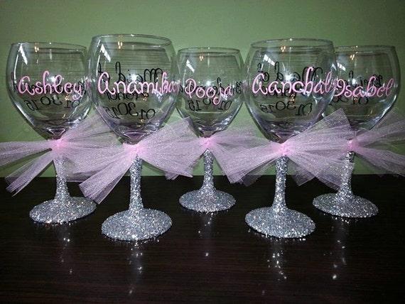 Bridesmaid Glitter Stemmed Wine Glasses Bride By