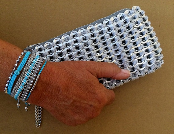 Crocheting With Pop Tabs : Soda Tab / Pop Tab Handmade Gray Crochet Clutch with Wristlet Chain ...