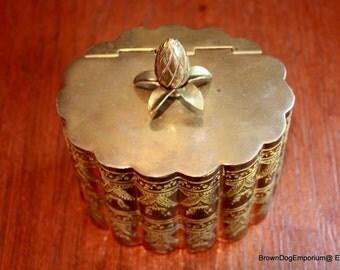 Brass Andrea by Sadek lidded oval box // vintage covered brass trinket box // brass tobacco box