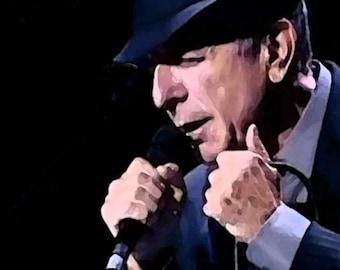 Leonard Cohen Print - On Stage