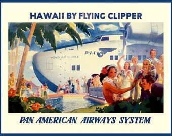 Art Print Hawaii Pan American Airlines Seaplane  - Print
