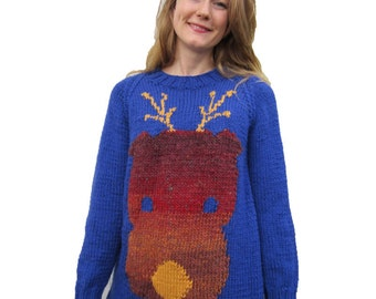 Funky Reindeer, Christmas jumper, chunky knitting pattern.