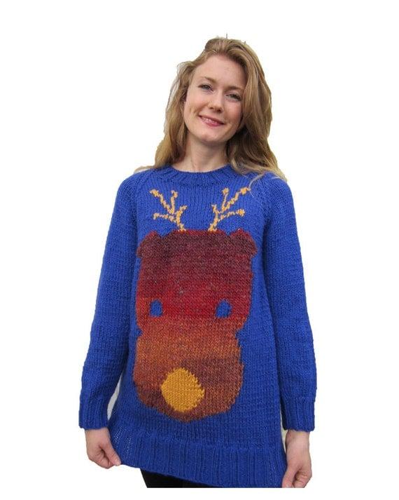 Funky Reindeer Christmas jumper chunky knitting pattern.