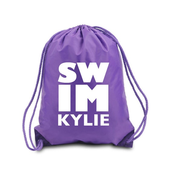 Swim Lesson Bag: Personalized Drawstring Bag Swim Nylon Drawstring Backpack