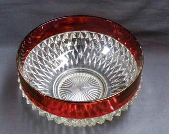 Indiana Glass Ruby Band Diamond Point Large Round Serving Bowl