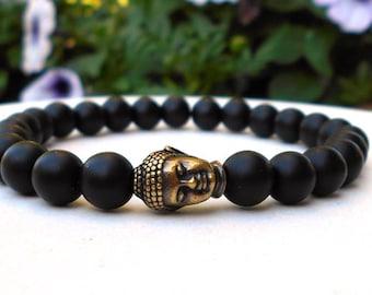Mens Buddha Bracelet, Mens Black Bracelet, Mens Black Onyx Jewelry, Men's Yoga Bracelet, Man Bracelet, Men's Jewelry, Mens Buddah Bracelet