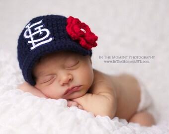 Baby Girl/Boy Navy St. Louis Cardinals Inspired Hat / Newborn Photo Prop / Sizes Newborn - 12 Months **MADE TO ORDER**