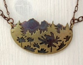 Large Layered Landscape Mountain Necklace - Mixed Metal Nature Pendant - Copper and Brass