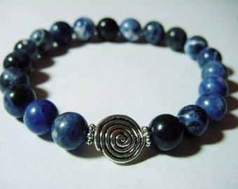 Sodalite Semi Precious Bracelet and Earrings Set, Emotional Balance, Intuition, Chakra, Jewelry, Healing Jewellery, Gift Idea