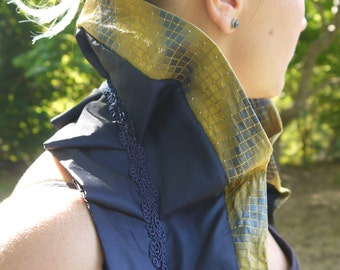 Navy and Yellow Check Tie-On Ruffle Shrug