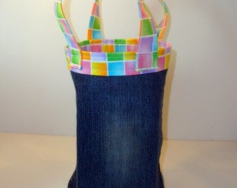 Carry Sack - Tote - Purse made from Upcycled Denim Blue Jeans
