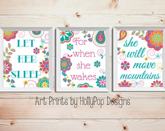 Girl Nursery Decor Let Her Sleep She will Move Mountains Baby Girl Wall Art Decor Childrens Quote Typography print Set of 3 Prints