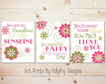 Pink green sunshine art You are my sunshine Girl room decor Baby girl art Mother daughter art Nursery songs Girls room art Pink art #0677